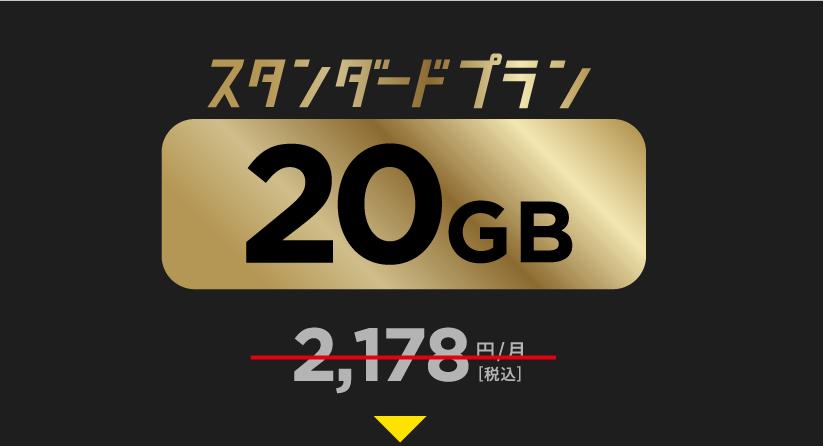 20GB2,178円がキャンペーン価格980円(税込)!